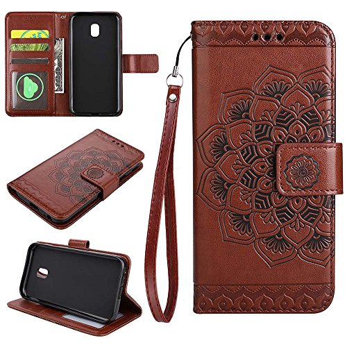 (European version)Galaxy J330 / J3 2017 / J3 Pro 2017 Wallet Case, EST-EU Retro Mandala Embossing PU Leather Stand Function Protective Covers with Card Slot Holder Wallet Book Case for Samsung Galaxy J330 / J3 2017 / J3 Pro 2017, Brown