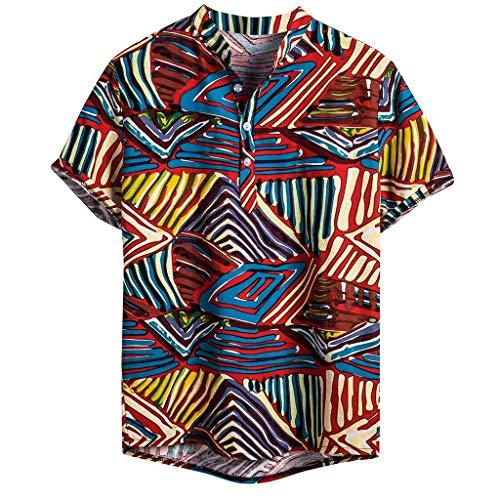 LSAltd Art- und Weisemänner beiläufige Bunte gestreifte Baumwollleinen-Hawaiihemd-Bluse-männliche Kurze Kurze Hülsen-Knopf-V-Ansatz Oberseiten