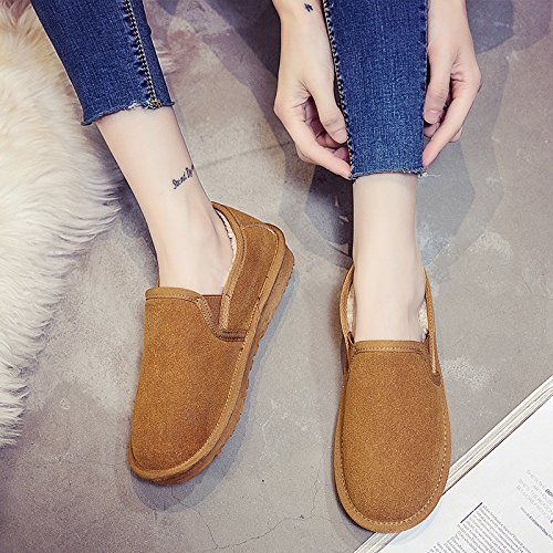 SQIAO-X- Le coppie scarpe scarpe invernali versione coreana di pane, bassa Snow Boots femmina peddling calci più caldo in velluto stivali Cilindretto corto La rosa (femmina)