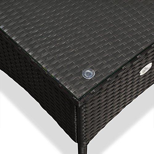 Polyrattan Tisch Beistelltisch Rattan Teetisch Gartentisch Glasplatte 50x50x45cm schwarz Garten Möbel - 5
