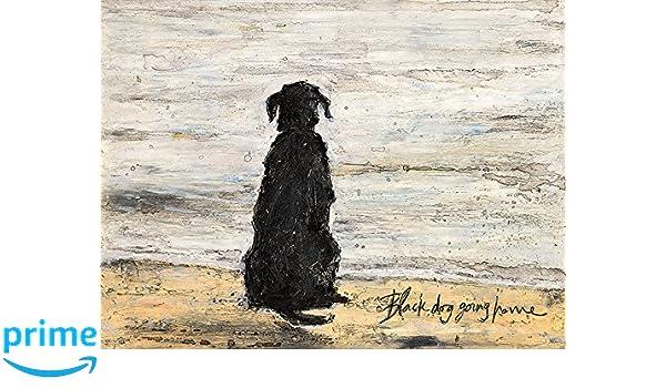 L Arte Gruppo Sam Toft Nero Dog Going Home Stampa su Tela 1.8/x 30/x 40/cm Cotone