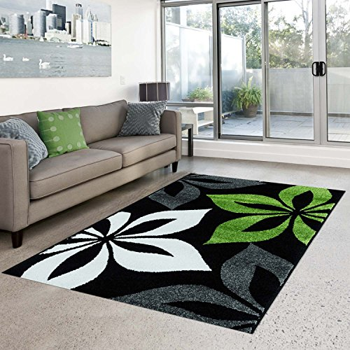 Blüte Grün-teppich (Teppich Flachflor Kurzflor Moda mit Blumen-Muster/ florales Motiv in Grün, Schwarz, Grau, Weiß für Wohnzimmer, Größe: 190 x 280 cm)
