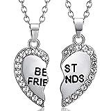 ODETOJOY - Collane per 2 ragazze con cuore spezzato, in oro e argento, idea regalo per 2 ragazze