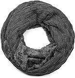 styleBREAKER warmer Feinstrick Loop Schal mit Flecht Muster und sehr weichem Fleece Innenfutter, Schlauchschal, Unisex 01018150, Farbe:Dunkelgrau
