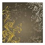 Vliestapete Premium - Schnörkel in Gold und Silber - Fototapete Quadrat Vlies Tapete Wandtapete Wandbild Foto 3D Fototapete, Größe HxB: 288cm x 288cm