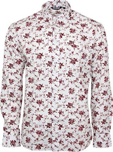 Relco Herren Blume Langärmeliges Hemd Mod Skin Retro Indie Vtg White & Burgundy