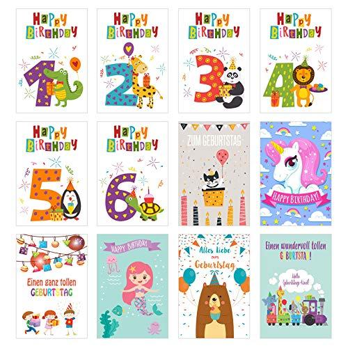 Edition Seidel Set 12 exklusive Kinder Geburtstagskarten mit Umschlag. Glückwunschkarte Grusskarte zum Geburtstag. Geburtstagskarte Karte (Doppelkarten/Klappkarten mit Briefumschlag)