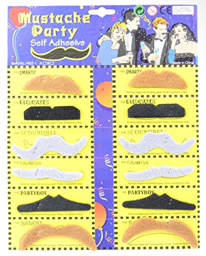 FiveSeasonStuff® 12 x Self Adhesive Assorted Fake Moustache / Mustache Set Fancy Dress Party Birthday Stylish Costume / Party Mustache / Halloween / Choose from 2 Different Sets HM5 (Moustache Set 2) (Moustache Fancy Dress)