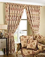 "Luxurious Cream Red Tapestry Chenille 90"" X 90"" Pencil Pleat Thick Curtains"