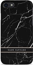 Personalisiert Customizable First and Last Name Initiale Custom Schwarz Marmor Schutzhülle aus Hartplastik Handy Hülle für iPhone 7/iPhone 8 Case Hard Cover