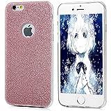 iPhone 6 Plus,6s Plus Funda Silicona de Gel TPU Case Suave Con Bling Rhinestone Crystal - Mavis's Diary® Funda para móvil Carcasa Resistente a los Arañazos Color de oro rosa