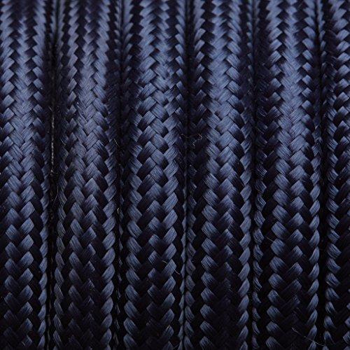 Bleu foncé Tissu ronde Flex – 3 Core câble à gaine tressée d'éclairage de fils