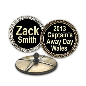 ball markers. personalised extra large golf ball markers (antique gold effect, on black)