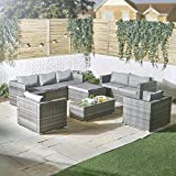 VonHaus 8 Seater Rattan Sofa & Chair Set – Large Outdoor, Conservatory, Garden, Patio Corner Sofa with 2X Seater Sofa, 2X Armchairs & Glass-Topped Coffee Table