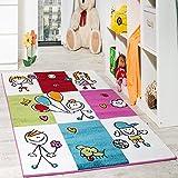 Teppich Kinderzimmer Fröhliche Kids in Karo Muster Mehrfarbig Creme Türkis