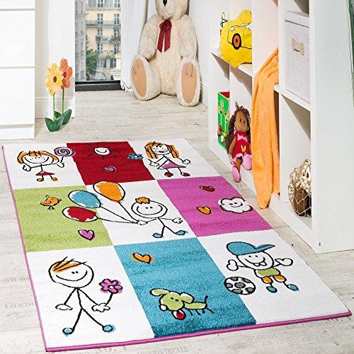 Teppich Kinderzimmer Fröhliche Kids in Karo Muster Mehrfarbig Creme Türkis Rot, Grösse:80x150 cm