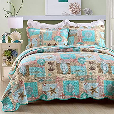 Beddingleer King Size 100% Cotton 3-Piece Ocean Starfish Shell Quilted Bed Spread Charming Quilted Patchwork Bedspread Antique Ocean Printed Reversible Quilts