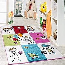 Alfombra Infantil Alegre A Cuadros Multicolor En Crema Turquesa Y Rojo, Grösse:120x170 cm