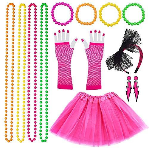 VSTON 80s Jahre Kostüme für Frauen Mädchen Erwachsene, 80er Jahre Frauen Kleider Partyzubehör Neon mit Tutu Röcke Blitz Ohrringe Stirnband Fischnetz Handschuhe Halskette Perlen Jahre Partykostüm Set