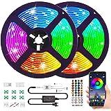 Bluetooth Striscia LED RGB Musicale 10M Autoadesiva Strisce Luminosa 12V LED Strip RGB Impermeabile/Flessibile/Accorciabile/C