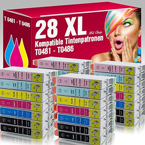 ms-point® 28x kompatible Druckerpatronen für Epson Stylus Photo R200 R210 R220 R300 R300M R310 R320 R340 RX300 RX500 RX600 RX620 RX640 - Kompatible Tintenpatrone Photo