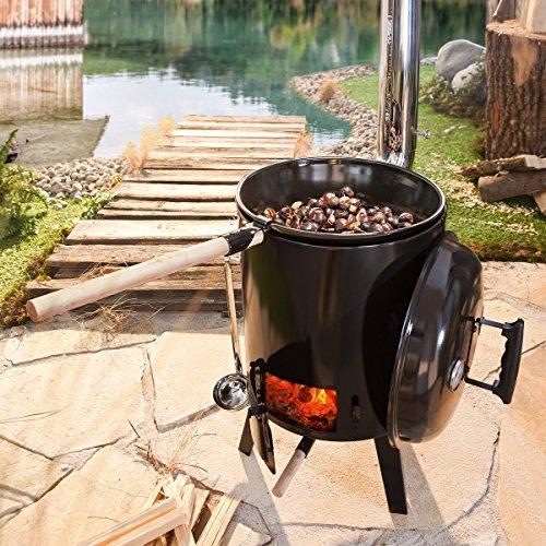 61mDHLQzoiL - BRAST Eintopfofen mit Grillfunktion Ofen Kugelgrill Grill Outdoor-Küche Gulaschkanone Suppenkessel Hähnchenbräter Ungarischer Gulaschkessel aus Stahlblech emailliert Dreibein inkl. Zubehör