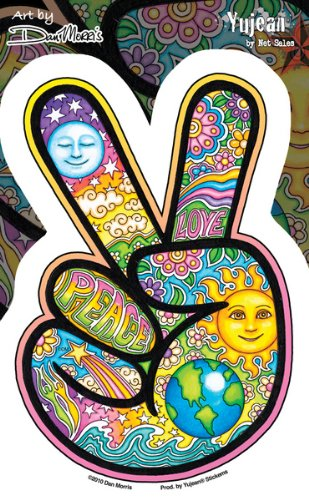 "Preisvergleich Produktbild Dan Morris - Peace Sign Hand Beautiful Celestial Imagery Sticker Decal - 4"" x 6"" - Weather Resistant, Long Lasting for Any Surface"