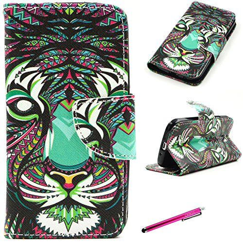 S4 Leather Case, [Card Slots] JCmax Premium Slim Flip PU Leather Wallet Case Cover Back Skin [Kickstand] and Magnetic Closure for Samsung Galaxy S4 i9500 -[Animal Tiger Pattern]