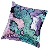 "16""x16"" with INSERT Mermaid Sequin Pillow with Color Changing, Reversible Flip Sequins. Perfect Throw Cushion for Home Decor and Holiday Gifts-Aqua Purple"
