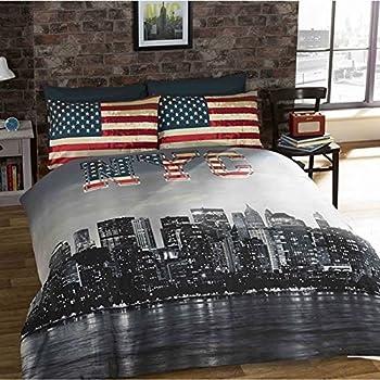 New York Parure De Lit New York Nyc Housse De Couette 200cm X 200cm