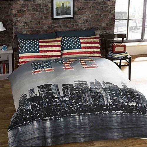 Rapport Wende-Bettwäsche-Set mit New York-Motiv, Doppelbett-Größe, Vintage-Stil, abgenutzt, mit Fotodruck von New York