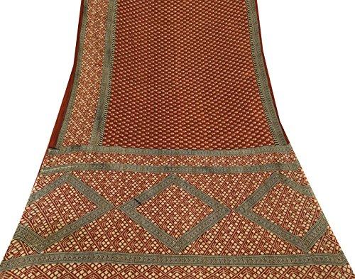 Vintage indische Blumenmuster Baumwolle Seide Saree Gebrauchte Maroon Craft Stoff Sari (Maroon Sari)