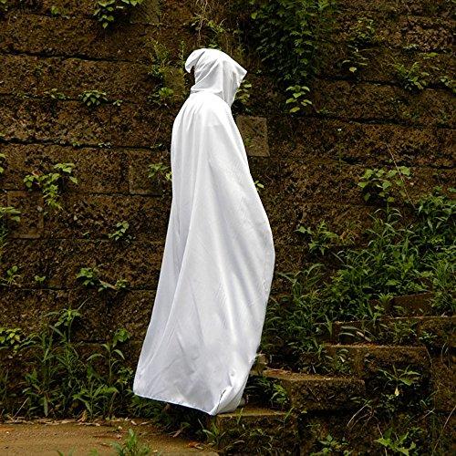 Halloween Kostüme Erwachsene Kinder Magic Cloak Hexe Robe Tod Vampir schwarzen Umhang Umhang (Farbe : Weiß, größe : M)