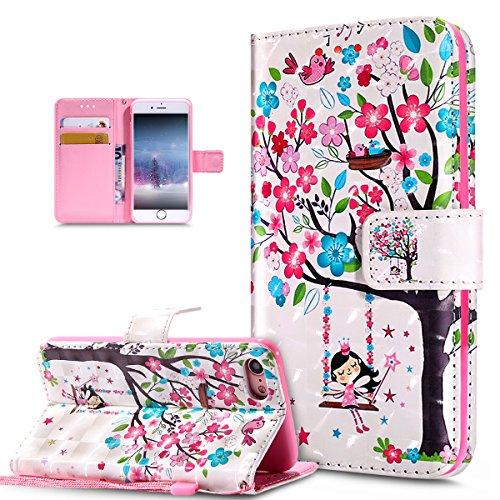 ikasus Coque iPhone 8/7 Etui Modèle de papillon peint en 3D coloré Housse Cuir PU Housse Etui Coque Portefeuille supporter Flip Case Etui Housse Coque pour iPhone 8/7,Oiseaux d'arbre fleur rose