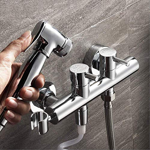 Super Black Bull Set doccia con soffione a mano - Bidet Sprayer per WC -  Pulitura pannolini e toilette Lavaggio - Testata in ottone massiccio, tubo