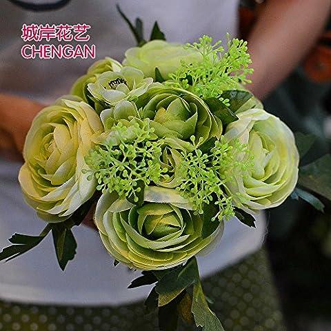 Yxhflo Damigella Mani Fiori Spose Coreano Emulazione Di Nozze Mani Fiori , Verde