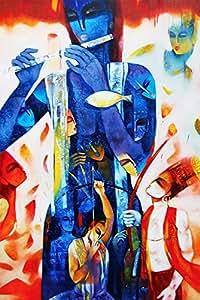 Faim Posters Italian Paper Poster Of Religious Krishna Arjun In Mahabharat - Frameless, 18x12 Inch