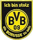 Aufnäher Borussia Dortmund Borusse - 10 cm, + gratis Aufkleber, Flaggenfritze®