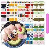 10 vellen volledige wraps zelfklevende nagellakstickers met 1 stuks nagelvijl, Kalolary DIY zelfklevende bloem regenboog lach