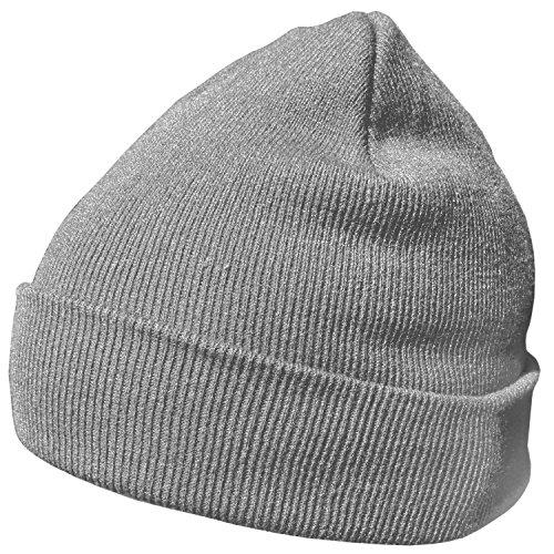 DonDon Wintermütze Mütze warm klassisches Design modern und weich grau -