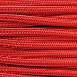 Cavo elettrico in tessuto tondo rotondo stile vintage rivestito 10 metri colorato Rosso H03VV-F sezione 3x0,75 per lampadari, lampade, abat jour, design. Made in Italy