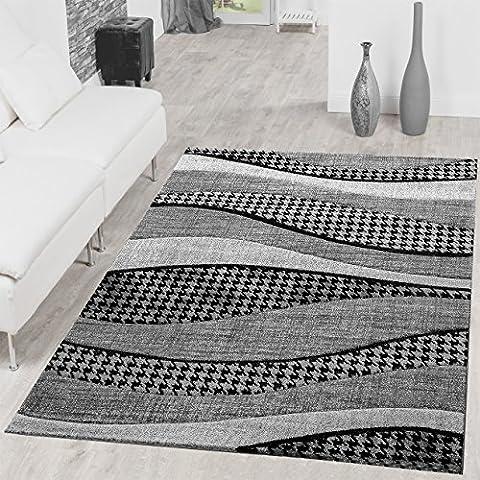 Tapis 160 X 160 Blanc - Tapis SALON Lisboa moderne abstrait en gris