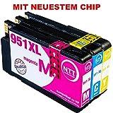N.T.T. 3x Tintenpatronen kompatibel zu HP951 HP-951-XL ( 1 Cyan, 1 Magenta, 1 Yellow ) Multipack zu HP OfficeJet Pro 8600, 8610, 8620, 8630, 8640, 8660, 8615, 8625, 8100, 251dw, 271dw Druckerpatronen
