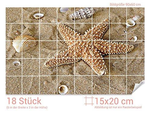 Graz Design 761061_15x20_60 Fliesenaufkleber Muscheln/Seestern für Kacheln | Bad-Fliesen mit Fliesenbildern überkleben (Fliesenmaß: 15x20cm (BxH)//Bild: 90x60cm (BxH))