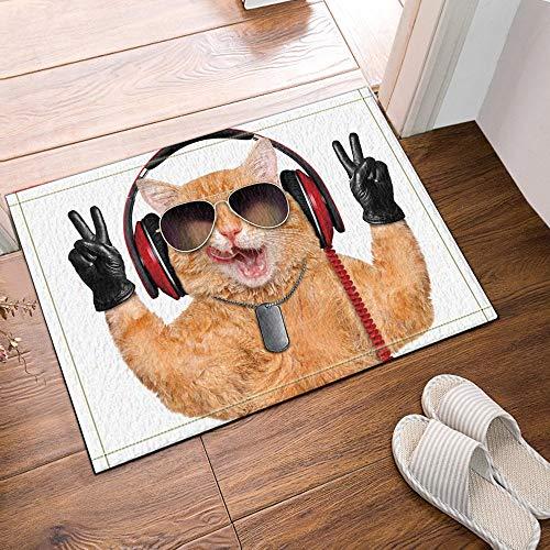 MMPTn Die schöne Katze mit Sonnenbrille und Headset Macht Badteppich Badteppiche rutschfeste Fußbodeneingänge Outdoor Indoor Haustürmatte 60x40cm Badteppich