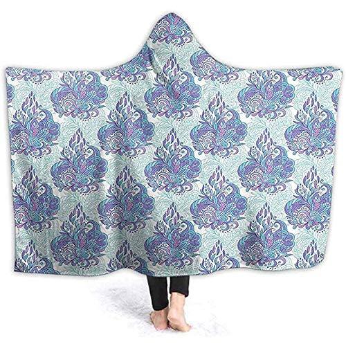 Henry Anthony 60X50 Zoll Decken Mit Kapuze Decke, Blumen Mit Kegelförmigen Mehendi Form Elementen Esque Wiederholendes Muster Blau Violett Wir -