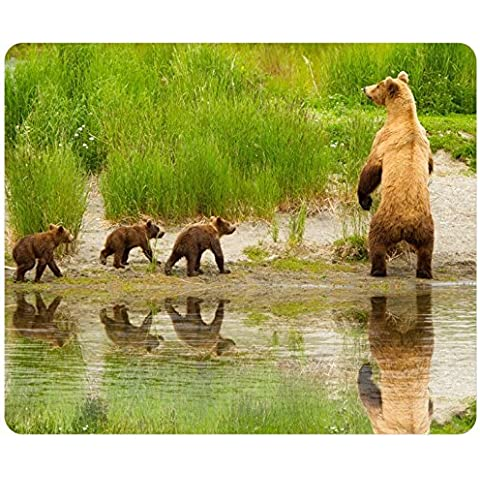 Nature Animals Alaska Lakes Brown Bears Documentary Customized Rectangle Mousepad, Gaming Mouse Pad Mouse Mat