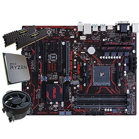 SNOGARD Aufrüstset | AMD RYZEN 7 1700 Prozessor | ASUS PRIME B350-PLUS | 8GB DDR4 RAM / Desktop Computer Mainboard Bundle / Aufrüst Kit / PC Tuning