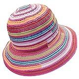 TININNA Donne colorato striscia coneflower Cappelli da sole spiaggia di sabbia Cappello di estivo Protezione Cappello della spiaggia Rose Rosso
