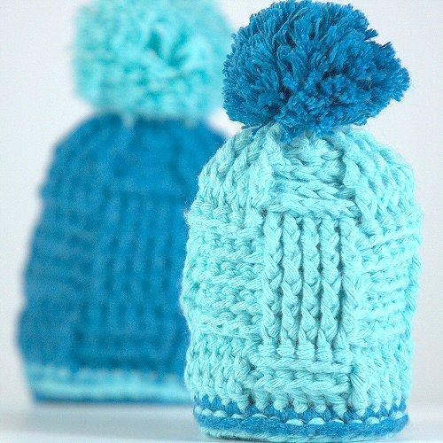 Eier Mützchen Azur/Lichtblau - 2er Set Eierwärmer, die Spaß machen - Baumwolle
